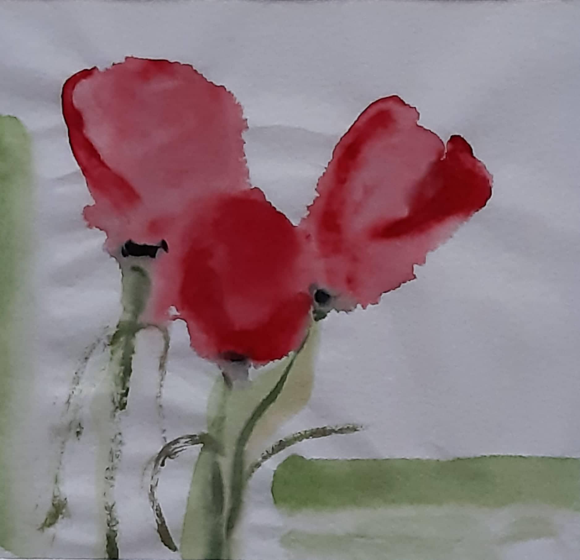 fiori acquerello su carta di riso 19 x 18 cm 2019