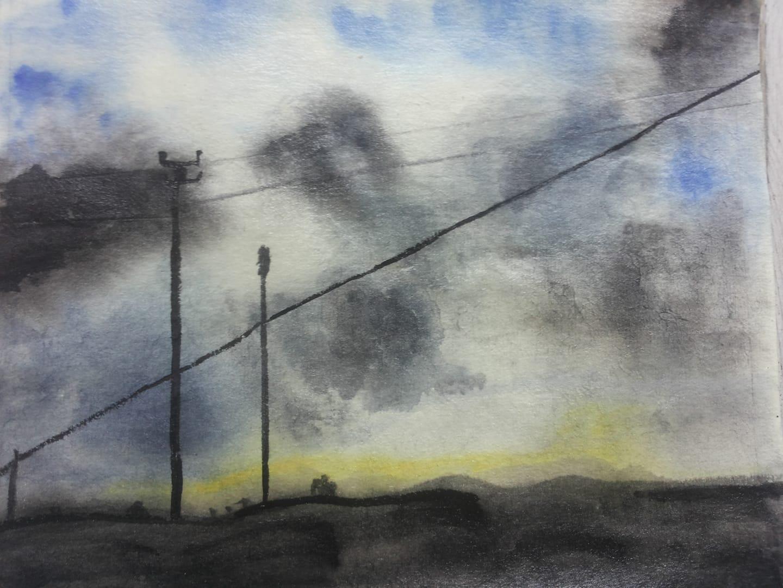 il cielo acquerello su carta di riso 14 x 18 cm 2018