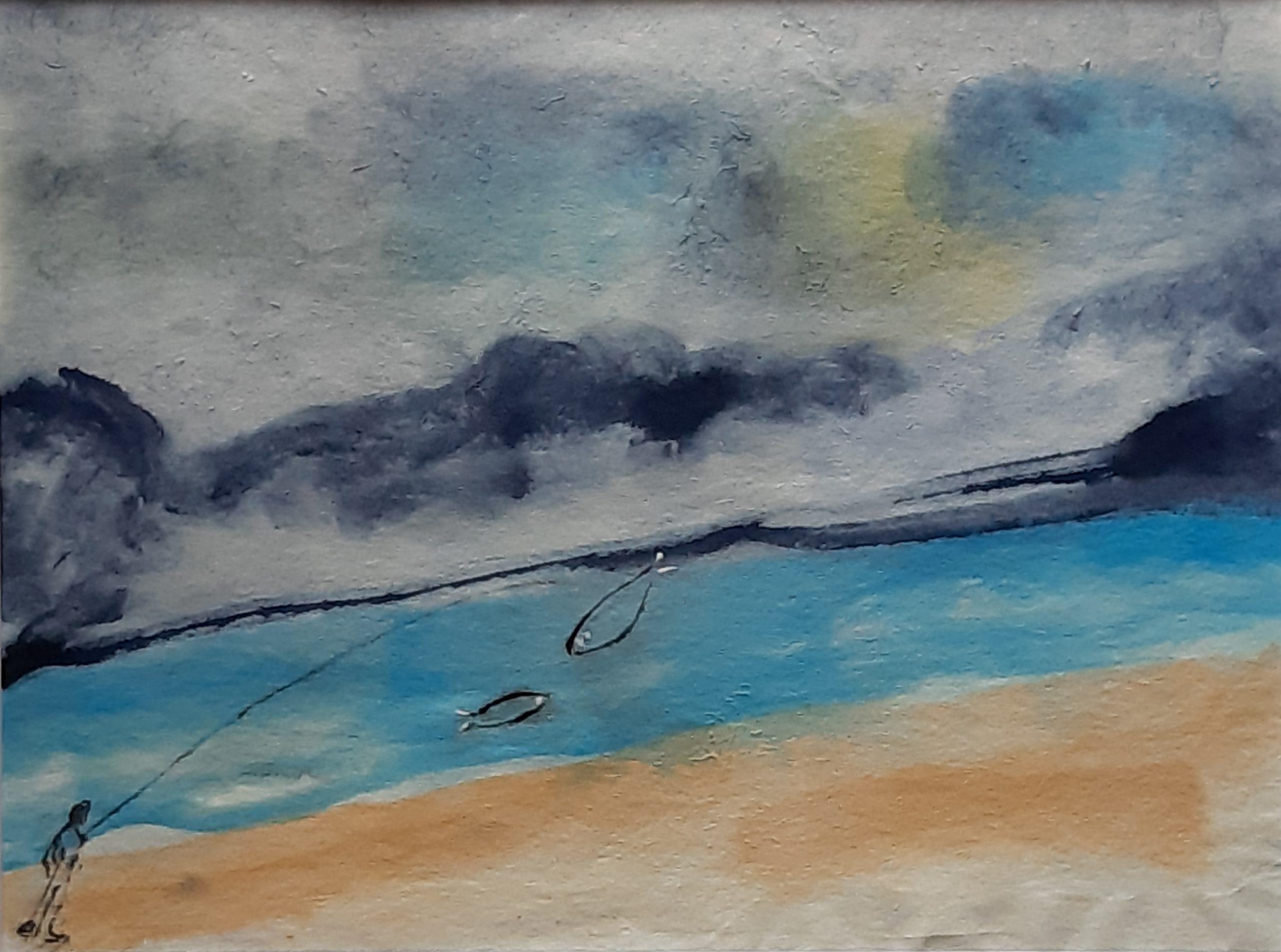 il pescatore acquerello su carta di riso 21 x 29 cm 2019