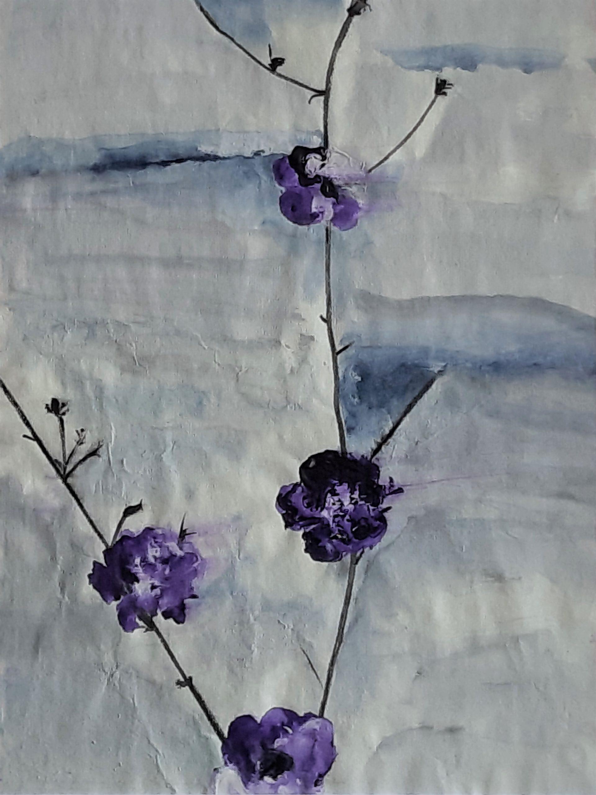 viola acquerello su carta di riso 24 x 32 cm 2019