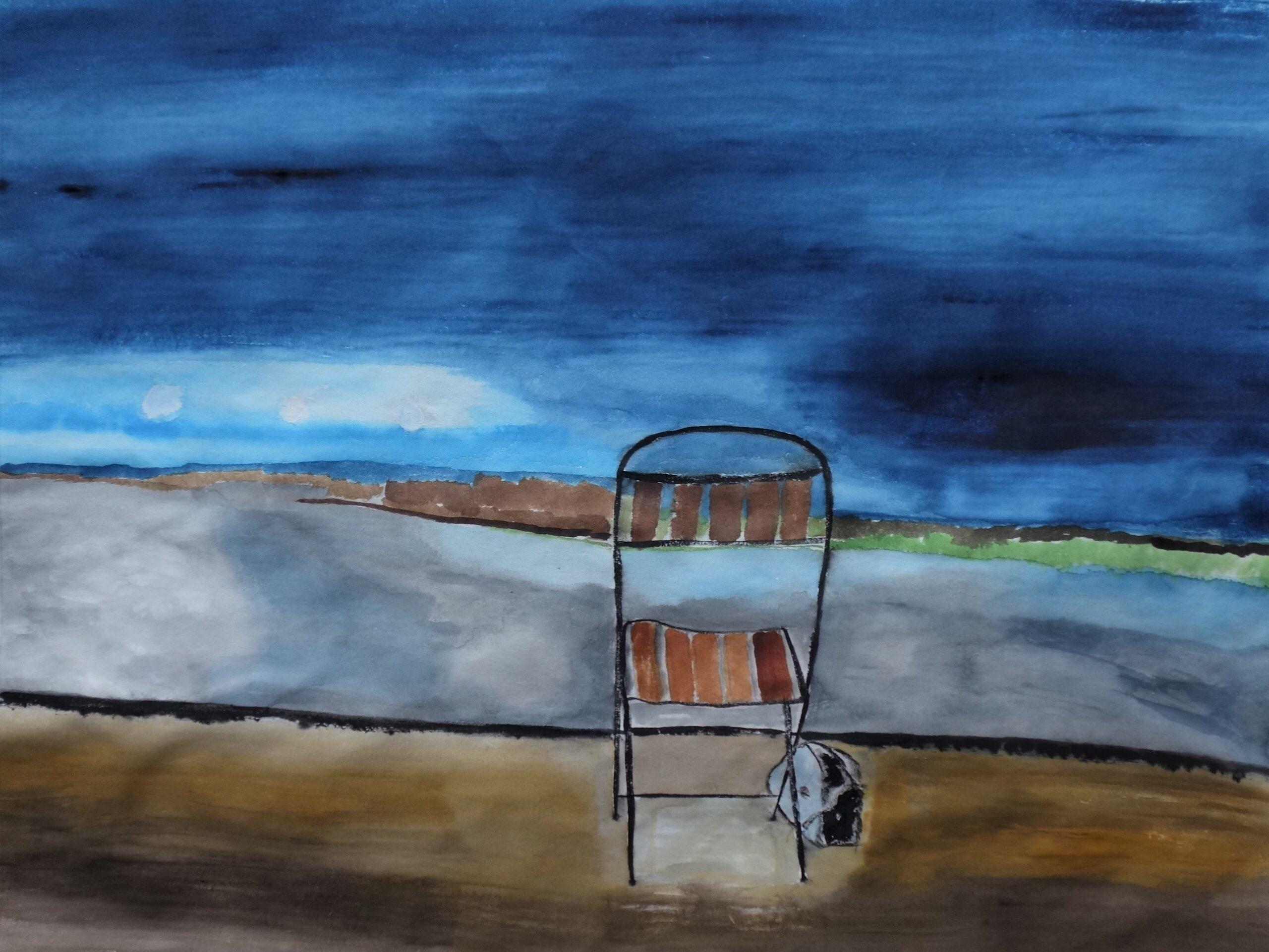 La sedia 2021 - acquerello su carta di riso 32x42 cm